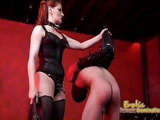 Lusty brunette slut Mistress Gemini has some fun with a