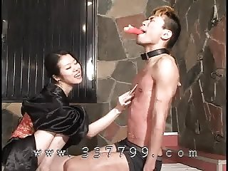 Japanese femdom is cking body of slave by cigarette