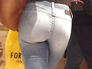 Sexy big ass in tight jeans