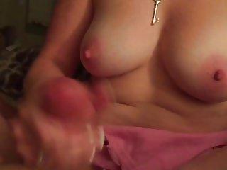 Nice topless wife handjob with slow motion replay