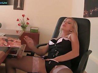 Office girl Lea Lexis spend her break playing herself