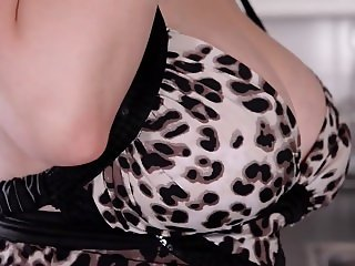 lovely brunette with big boobs masturbating in kitchen