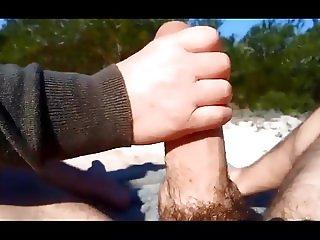 Big cock beach handjob POV PublicFLashing.me