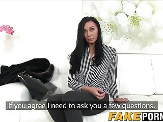 Dark haired milf Tasha Holz gets a creampie on the casting