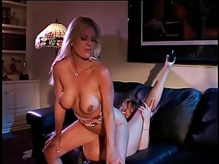 Two playful blonde milfs rub their twats and using dildo
