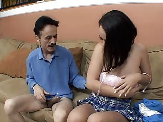 Older guy loves to fuck this sexy young chick with perky tits in her pussy