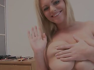 Milky skin babe shows her amazing tits to the camera