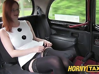 HornyTaxi Red head with big natural tits trys for easy cash
