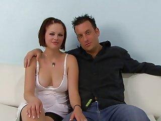 Redhead slut fucks a black guy in front of her husband