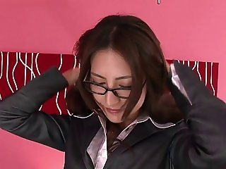 Asian girl in glasses strips off her secertary suit and gets showered