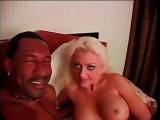 Sexy blond trollop fucking black pecker