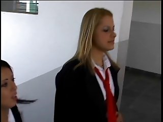Schoolgirl hottie banged by black cock in the bathroom
