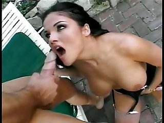 Smoking hot chick banged outdoors