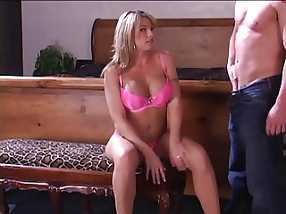 Smoking hot blonde giving a handjob