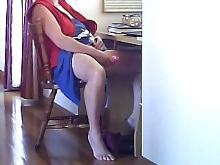 Caught masturbating at computer watching porn