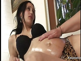 Brunette slut wants her pregnant belly jizzed on