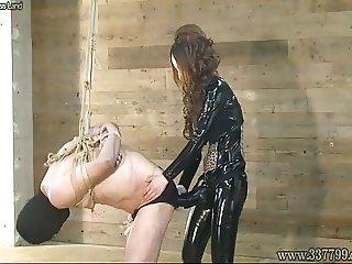 Femdom Kira Big Strapon in slave's ass