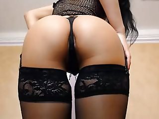 Girl in black Pantyhose  Ass in Thong