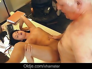 Teen secretary working naked seduces boss for old cock fuck