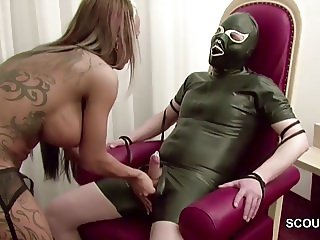 German Femdom Teen in Hot Lingerie Handjob and Fuck