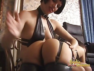 Gorgeous floozy receives a proper spanking from two stunning