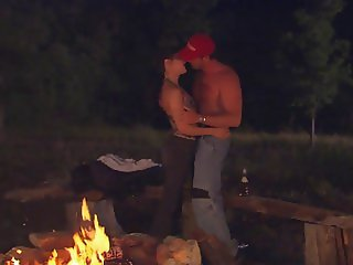 Romantic couple fuck have an orgasmic intimacy outdoors at night