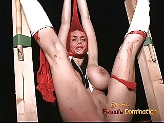 Hot bombshell with big tits gets bound and spanked by a were