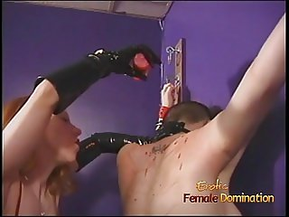 Kinky BDSM lesbian threesome featuring latex-clad and horny
