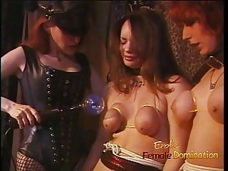 Two horny sluts let a sexy domina do naughty things to them