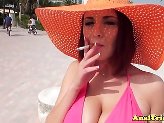 Busty redhead girlfriend wet for assfucking