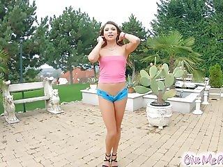 Petite brunette Talia Mint masturbates on Give Me Pink