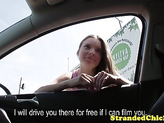 Stranded eurobabe screwed outdoors in car