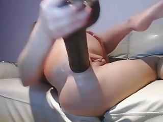 Blonde Teen Beauty Rams Big Black Dildo In Her Ass