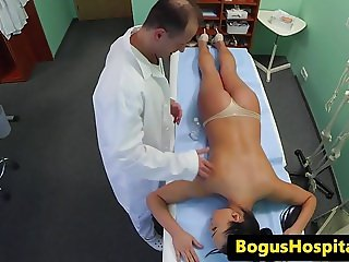 Euro nurse cocksucking her doctor before sex
