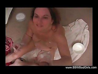 BBW Handjob In The Bathroom