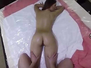 FULL vercion  Two hot brunettes go wild in a dirty massage duo