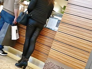 Candid Leather Pants Ass