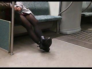 public metro black pantyhose legs