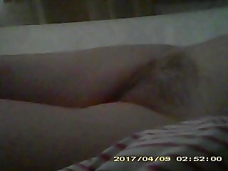 Hairy Brit wife spied nude in bed